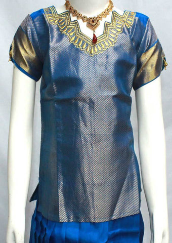 Ramar Blue Readymade Pure silk pavadai  - EN63 (Age - 6 years) ARRS Silks
