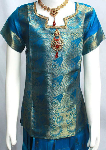 Ramar Blue Readymade Pure silk pavadai  - FE22377 (Age - 7 years) ARRS Silks