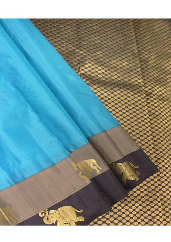 Ramar Blue with Black Color Kanchipuram Silk Saree ARRS Silks