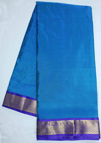 Ramar Blue with Dark Blue  Coloured 9.5 Yards Silk Saree - FP53503 ARRS Silks