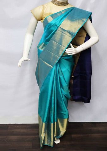 Ramar Blue with Navy Blue Soft Silk Saree - FU45038 ARRS Silks