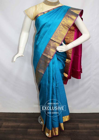 Ramar Blue with Pink Kanchipuram Silk Saree - FR28499 ARRS Silks