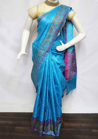 Ramar Blue with Pink Pure Raw Silk Saree - FL37466 ARRS Silks
