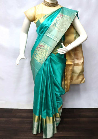 Ramar Blue with Sandal Soft Silk Saree - FU45251 ARRS Silks