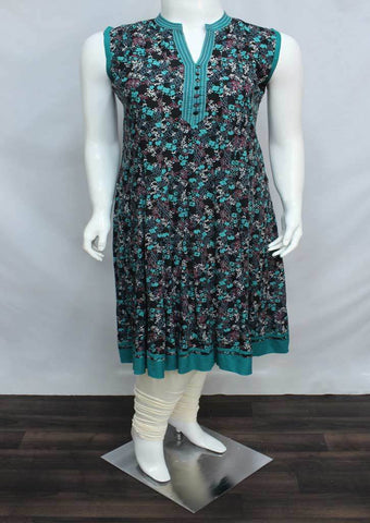 Ramar Green with Black Coloured Rayon Crep Kurti - HAV114 ARRS Silks