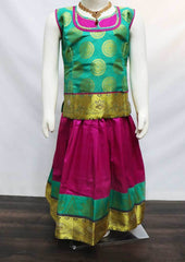 Ramar Green with Pink Pattu Pavadai - FH7138 (Size: 6 Years) ARRS Silks