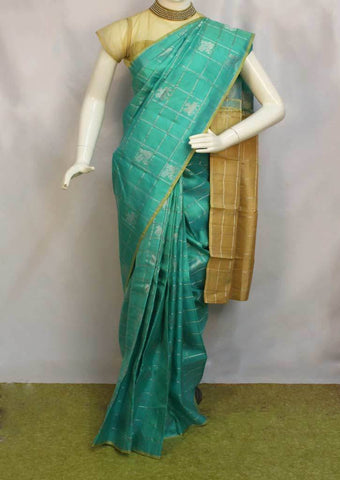 Ramar Green with Sandal Checked Kanchipuram Silk Saree - FL15 ARRS Silks