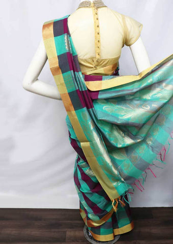 Ramar green with Vadamalli Checked Silk Cotton Saree - FO2042 ARRS Silks