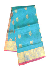 Blue  with Pink  Light weight Kanchipuram Silk Saree