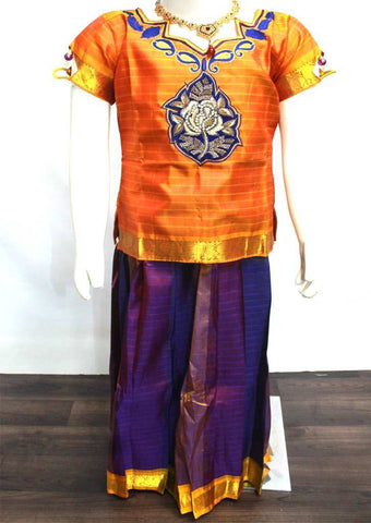 Readymade Pure silk pavadai  - EM8047 (Age - 6 years) ARRS Silks