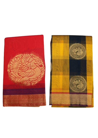 Red and Multi color Silk Cotton Saree (BUY 1 GET 1) - 002 ARRS Silks