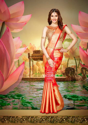 Red Checked Wedding Silk Saree - 9KA4053 ARRS Silks