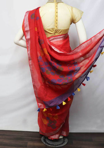 Red Color Linen  Saree - FV32247 ARRS Silks