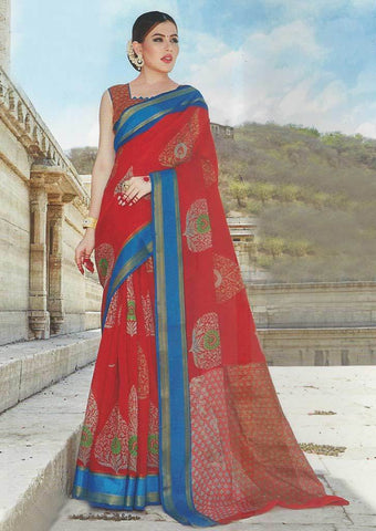 Red Color Synthetic Saree-FO97621 ARRS Silks