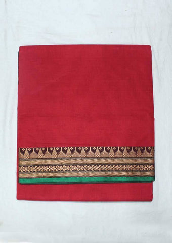 Red Pure Cotton 9.5 yards Saree - F096381 ARRS Silks
