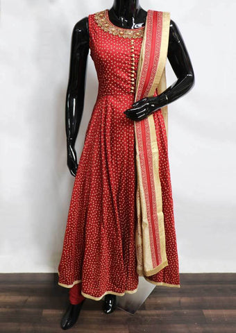 Red Readymade Salwar- FJ9326 ARRS Silks