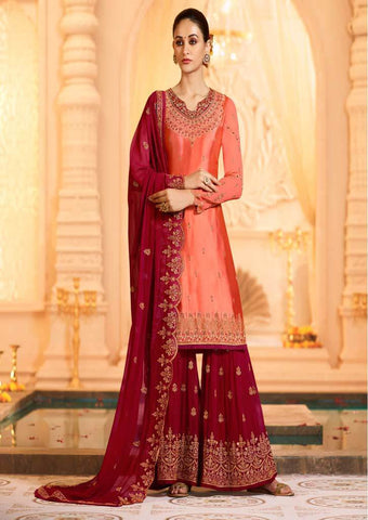 Red Satin Georgette Grand Chudi Material -FQ67204 ARRS Silks