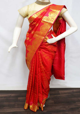 Red Semi Silk Saree  - GB86141 ARRS Silks