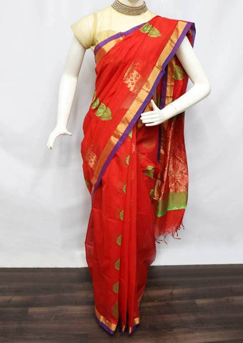 Red Silk Cotton Saree - FR29217 ARRS Silks