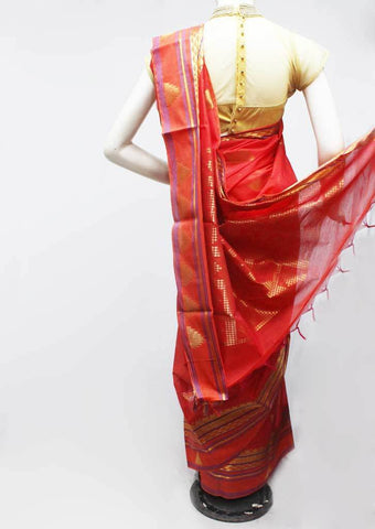 Red Silk Cotton Saree - FR47200 ARRS Silks