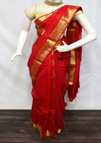 Red Silk Cotton Saree - GB112401 ARRS Silks