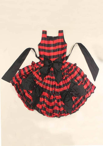 Red With Black Checked Dupion Silk Fabric Frock - HBB2377 ARRS Silks Salem