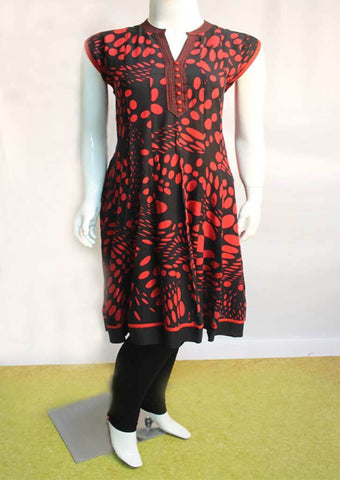Red With Black Kurti - SAY1819 ARRS Silks