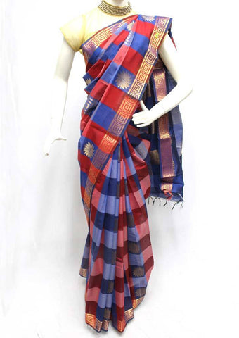 Red with Blue checked Silk Cotton Saree - FR27866 ARRS Silks