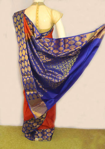 Red with Blue Kanchipuram Silk Saree- FJ19020 ARRS Silks