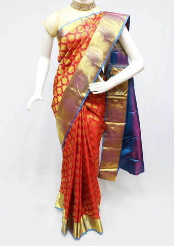 Red with Blue Kanchipuram Silk Saree - FS25053 ARRS Silks
