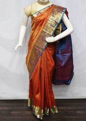 Red With Blue Kanchipuram Silk Saree -FV28076 ARRS Silks