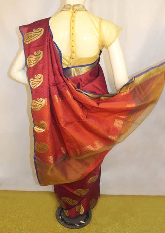 Red with Blue Organza Cotton Sarees- FP10484 ARRS Silks