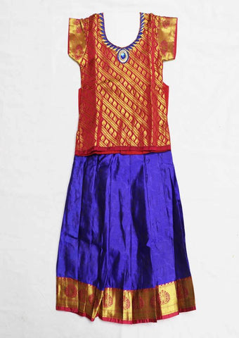 Red With Blue Pure silk Stitched pattu pavadai - FU592 ( Age-1 year and below) ARRS Silks