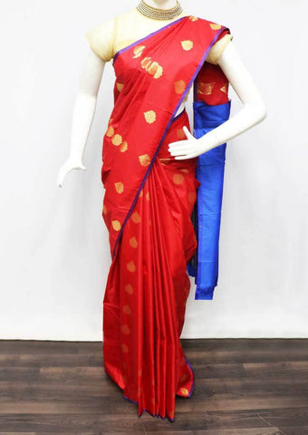 Red with Blue Semi Silk Saree - FS31841 ARRS Silks