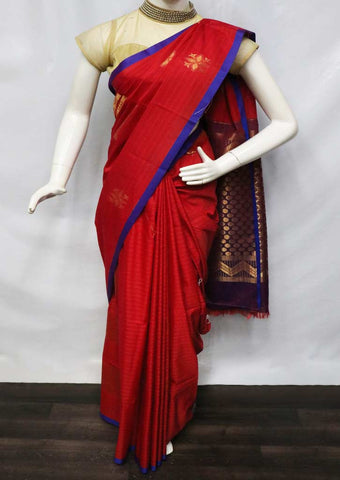 Red with Blue Silk Cotton Saree - GD29304 ARRS Silks