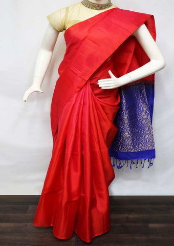 Red With Blue Soft Silk Saree - GE40219 ARRS Silks
