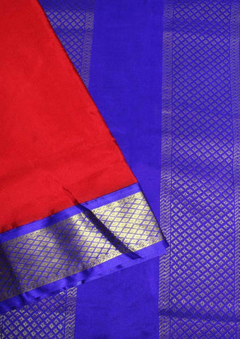 Red with Dark Blue Coloured 9.5 Yards Silk Saree - FP53508 ARRS Silks