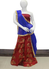 Red With Dark Blue Lehenga - FC6062 ARRS Silks