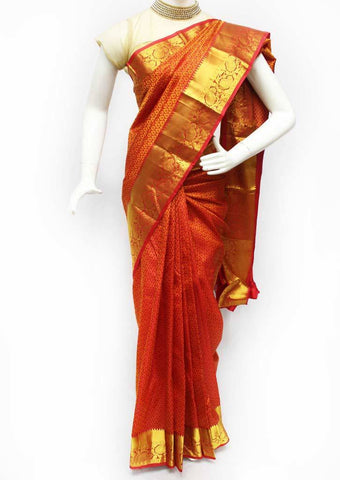 Red with Golden Kanchipuram Silk Saree - FQ31481 ARRS Silks