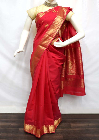 Red with Golden Silk Cotton Saree - FZ9997 ARRS Silks
