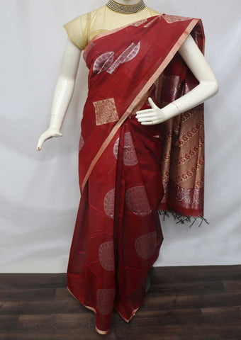 Red with Golden Silk Cotton Saree - GE21262 ARRS Silks