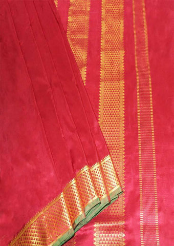 Red with Green Color 9.5 Yards Silk Saree - 9KA4326 ARRS Silks