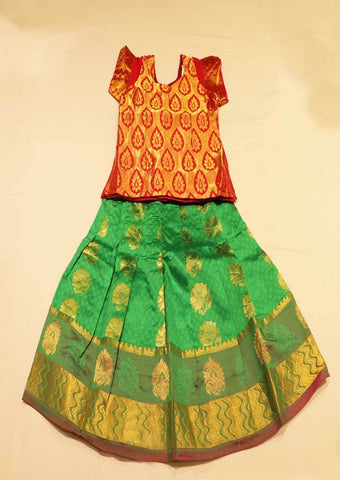 Red With Green  Pure silk Stitched pattu pavadai - FB1595 ( Age-1 year and below) ARRS Silks