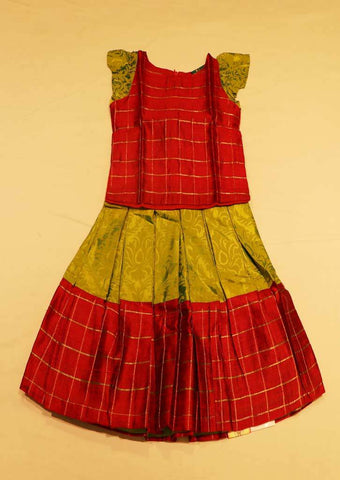 Red With Green Pure silk Stitched pattu pavadai - FO41536,FO41537,FO41539 ( Age-1 year and 2 year) ARRS Silks