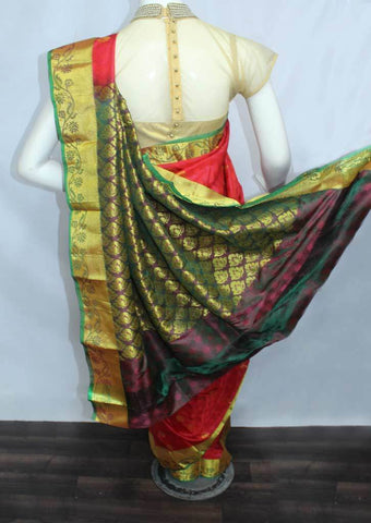 Red with Green Semi Silk Saree- FL6522 ARRS Silks