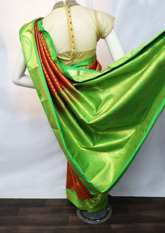 Red with Green Semi Silk Saree - FV2410 ARRS Silks