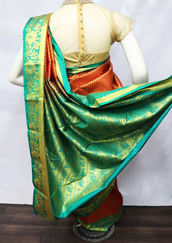 Red with Green Semi Silk Saree - FV2412 ARRS Silks