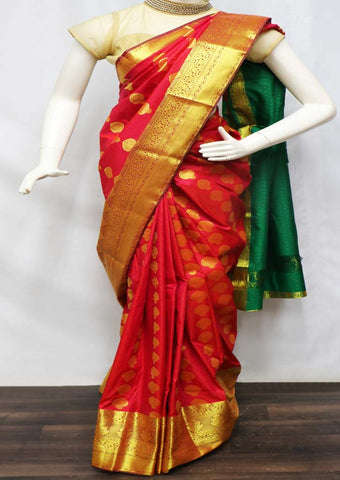 Red With Green Semi Silk Saree  - GC63295 ARRS Silks