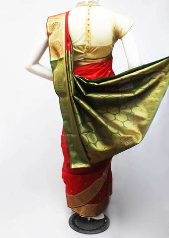 Red with Green Silk Cotton Saree - FR77640 ARRS Silks