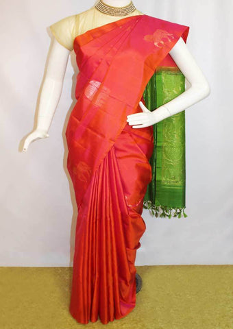 Red With Green Soft Silk Saree -EZ16019 ARRS Silks